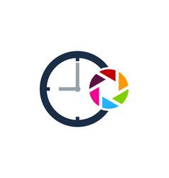lens time logo icon design vector image