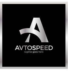 letter a logo - auto speed luxury royal silver vector image