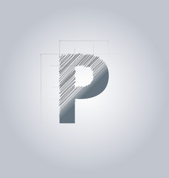 Letter p logo alphabet logotype architectural vector