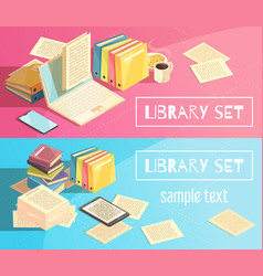library set isometric banners vector image