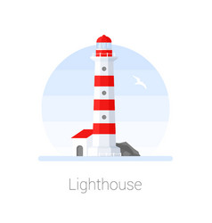 lighthouse tower with seagull vector image