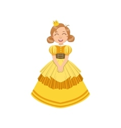 Little Girl In Yellow Dress Dressed As Fairy Tale vector
