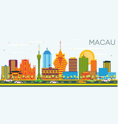 Macau china city skyline with color buildings and vector