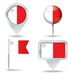Map pins with flag of Malta vector image