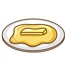 Melted butter on round plate vector