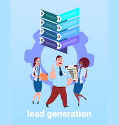 Mix race business team processing sales funnel vector