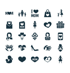 Mothers day icon design concept set of 25 such vector