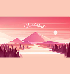 Mountain landscape fir forest river sunset vector