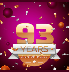 ninety three years anniversary celebration design vector image