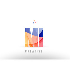 Orange blue alphabet letter mi m i logo icon vector