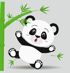 Panda falls from bamboo in the style of a cartoon vector