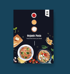 Pasta poster design with cheese fork vector