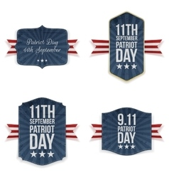Patriot day national labels set vector