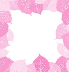 Pink leaves frame vector image