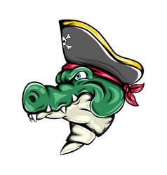 Pirates crocodile using hat vector
