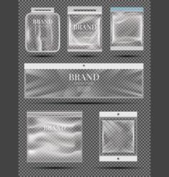 polythene bags set transparent empty plastic vector image