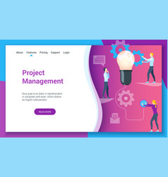 project management lp template vector image