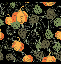 pumpkin pattern on dark vector image