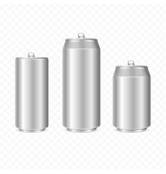 realistic detailed 3d steel can set vector image