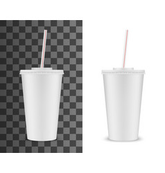 realistic plastic or paper cup soda drink straw vector image
