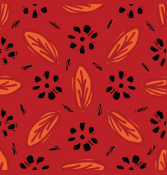 red bohemian retro floral pattern seamless vector image