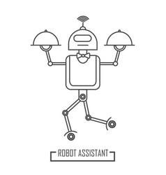 robot room service in restaurant modern line vector image
