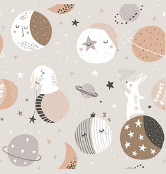 seamless childish pattern with catching stars cute vector image