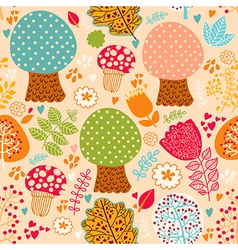 Seamless Cute Trees Pattern vector image