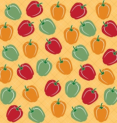 Seamless pattern of sweet peppers of different vector image