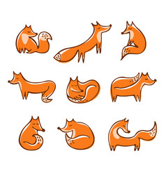 Set cute red doodle foxes in various poses vector