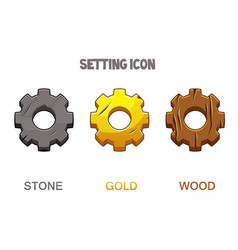 Set gear settings icons gold wooden and stone vector