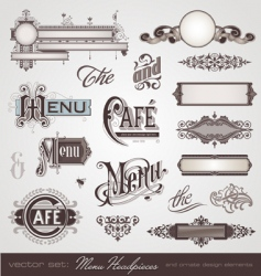 set menu headpieces vector image