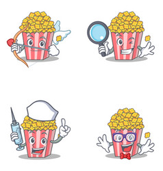set of popcorn character with cupid detective vector image