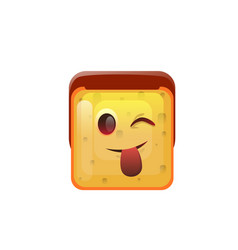 Smiling emoticon face show tongue positive icon vector