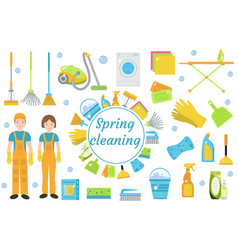 Spring cleaning icons flat style housekeeping vector