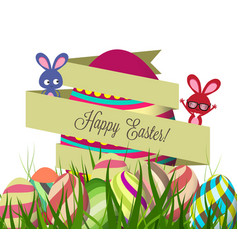 Spring easter background with egg vector