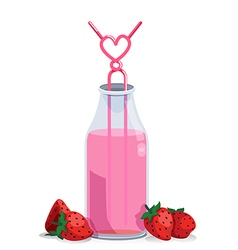 strawberry milk vector image