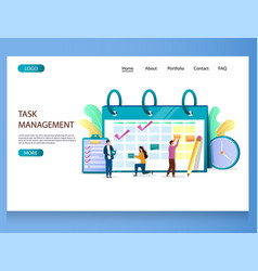 task management website landing page design vector image