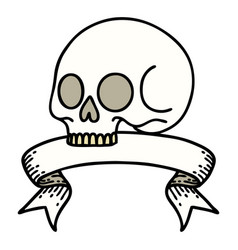 Tattoo with banner a skull vector