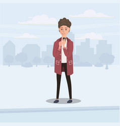 teenager looking into smartphone on the go vector image