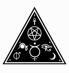 Triangular composition with esoteric symbols vector