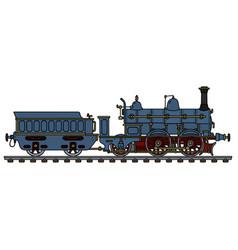 Vintage blue steam locomotive vector