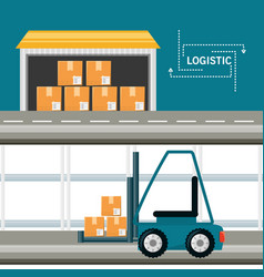Warehouse with boxes for shipping and stackers vector