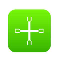 wheel wrench cross icon digital green vector image