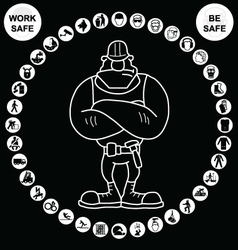 White circular health and safety icon collection vector