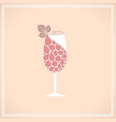 Wine glass with grape vector