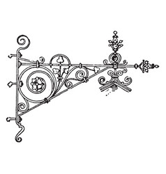 Wrought-iron bracket pressing vintage engraving vector