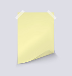 yellow sheet paper on light gray background vector image