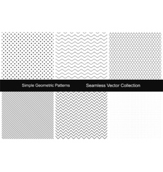 Collection of simple seamless patterns vector image