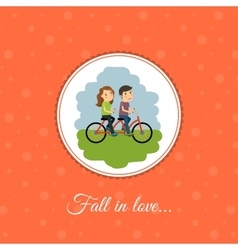 Couple rides a bicycle vector image vector image